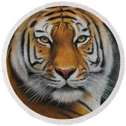 Tiger - The Heart Of India Round Beach Towel