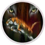 Tiger, Tiger Burning Bright Round Beach Towel