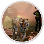 Tiger Walking Down A Snow Slushy Street Round Beach Towel by Wernher Krutein
