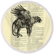 Tiger With Angel Wings In Black Ad White Round Beach Towel
