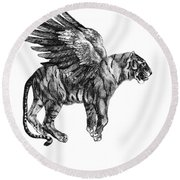 Tiger With Wings, Black And White Illustration Round Beach Towel