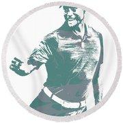 Tiger Woods Pga Golf Pro Pixel Art 4 Round Beach Towel