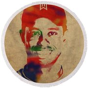 Tiger Woods Watercolor Portrait Round Beach Towel