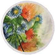 Tigerlilies And Cornflowers Round Beach Towel by Lucia Grilletto