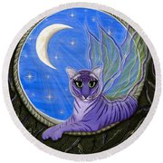 Tigerpixie Purple Tiger Fairy Round Beach Towel