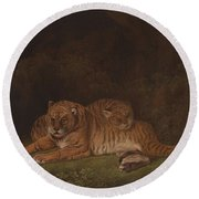 Tigers By Charles Towne Round Beach Towel