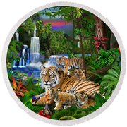 Tigers Of The Forest Round Beach Towel
