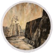 Round Beach Towel featuring the painting Tikal Ruins- Guatemala by Ryan Fox