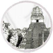 Tikal Temple I Round Beach Towel