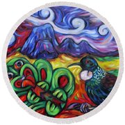 Round Beach Towel featuring the painting Tiki And Tui Under Mount Taratara by Dianne  Connolly