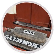 Tile Inlay Steps Marie Jean 435 Wooden Door French Quarter New Orleans Round Beach Towel by Shawn O'Brien