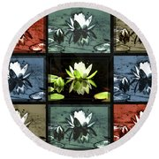 Tiled Water Lillies Round Beach Towel