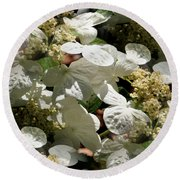 Round Beach Towel featuring the photograph Tiled White Lace Cap Hydrangeas by Smilin Eyes  Treasures