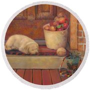 Round Beach Towel featuring the painting Till The Kids Come Home by Nancy Lee Moran