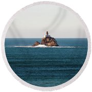 Tillamook Rock Lighthouse On A Calm Day Round Beach Towel