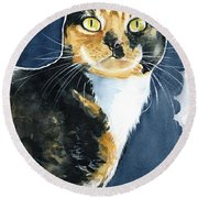 Tilly Calico Cat Painting Round Beach Towel