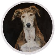 Tilly The Lurcher Round Beach Towel