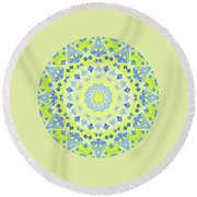 Tilted Order Circle Bright Round Beach Towel by Lori Kingston