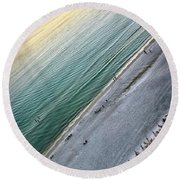 Tilted Rule Of Thirds Beach Sunset Round Beach Towel