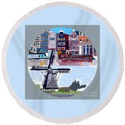 Tilting Windmills Round Beach Towel