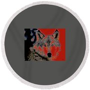 Round Beach Towel featuring the mixed media Timber Wolf by Charles Shoup