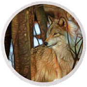 Timber Wolf Colorful Art Round Beach Towel
