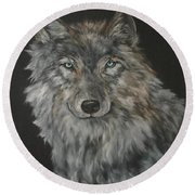 Timber Wolf Round Beach Towel by Jean Walker