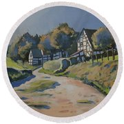 Timbered Houses In Terziet Round Beach Towel
