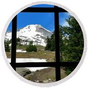 Timberline Lodge View Round Beach Towel