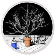Round Beach Towel featuring the digital art Time Aerials Time Aerials In A Pot by Russell Kightley