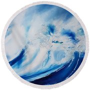 Round Beach Towel featuring the painting Time Flies by Mira Cooke