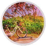 Round Beach Towel featuring the photograph Time For Beach Fun by Debra and Dave Vanderlaan