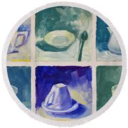 Time For Coffee Round Beach Towel