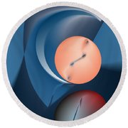 Time Is A Peculiar Game Round Beach Towel