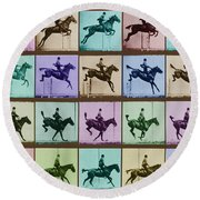 Time Lapse Motion Study Horse And Rider Color Round Beach Towel