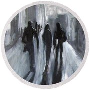 Time Of Long Shadows Round Beach Towel