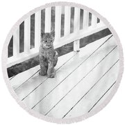Time Out Bw Round Beach Towel