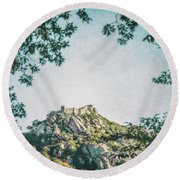 Time Temple Round Beach Towel