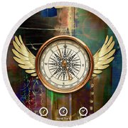 Round Beach Towel featuring the mixed media Time To Fly by Marvin Blaine