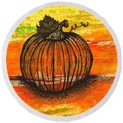 Time To Get Pumkin Round Beach Towel