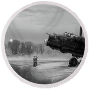 Round Beach Towel featuring the photograph Time To Go - Lancasters On Dispersal Bw Version by Gary Eason