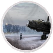 Round Beach Towel featuring the photograph Time To Go - Lancasters On Dispersal by Gary Eason