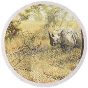 Round Beach Towel featuring the painting Time To Move On by Alan M Hunt