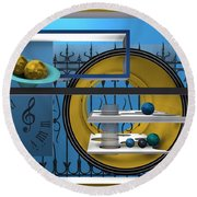 Time To Night Song Round Beach Towel