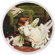 Time To Play Round Beach Towel by Charles Burton Barber