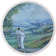 Time To Remember Round Beach Towel by Rosemary Colyer