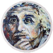 Round Beach Towel featuring the painting Time To Think by Mary Schiros
