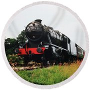 Time Travel By Steam Round Beach Towel by Martin Howard
