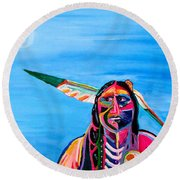 Round Beach Towel featuring the painting Beyond Space And Time by Brenda Pressnall