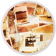 Time Worn Scenes And Places Background Round Beach Towel